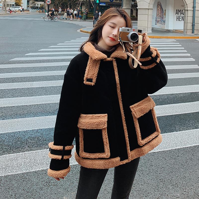 实拍 2020韩国新款羽绒服女羊羔毛拼接宽松灯芯绒短款棉服外套女-靓衣轩羽绒服-