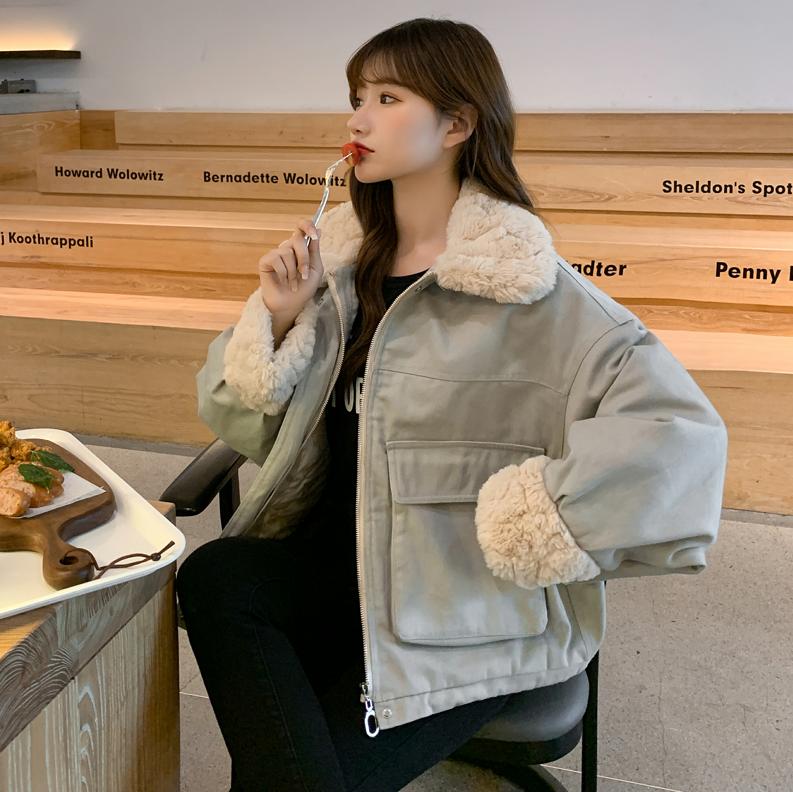 实拍2020冬季新款羽绒服女棉袄羊羔毛外套棉服小个子MM韩版外套-依之秀羽绒服-