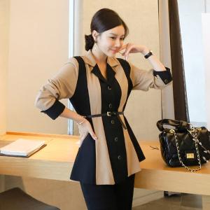 YF12108# 秋冬新款韩版气质显瘦拼色小翻领外套有内衬 服装批发女装直播货源