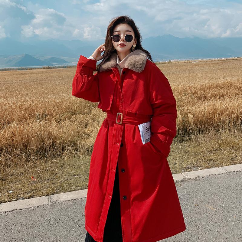 实拍派克棉服女中长款2020冬季新款韩版宽松工装棉衣棉袄外套加绒-千姿秀羽绒服-