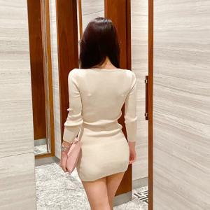 YF11660# 秋冬新款女装收腰显瘦包臀针织连衣裙毛衣 服装批发女装直播货源