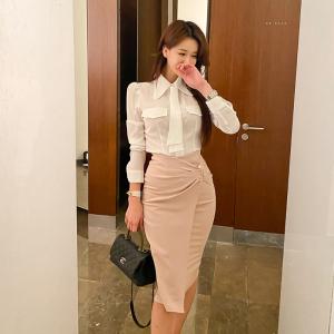YF11661# 秋冬新款衬衣+高腰半身裙套装 服装批发女装直播货源