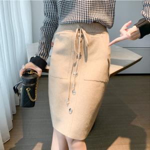 YF17112# 针织包臀裙新款高腰显瘦半身裙秋冬系带一步裙直筒裙