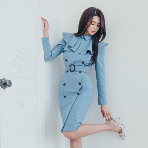 YF11662# 秋冬新款收腰显瘦双排扣风衣外套连衣裙 服装批发女装直播货源
