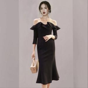 YF29997# 性感一字领露肩鱼尾小黑裙连衣裙女法式名媛气质优雅礼服 女装批发服装货源