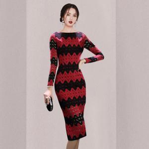 YF11371# 女装韩版性感露背开衩拼色春装蕾丝连衣裙礼服 服装批发女装直播货源