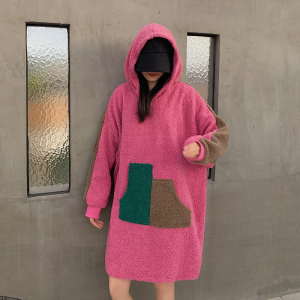YF25535# 秋冬新款大码女装胖mm加厚羊羔绒毛卫衣遮肚显瘦减龄 服装批发女装货源
