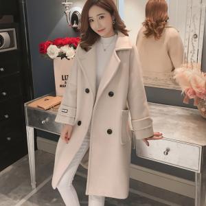 YF29023# 毛呢外套女中长款新款秋冬韩版流行赫本风显瘦百搭呢子大衣女
