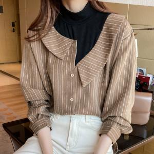 YF12585# ~条纹假两件衬衫女秋装新款设计感小众宽松高领长袖衬衣 服装批发女装直播货源