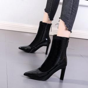 X-24534# 黑色高跟马丁靴女英伦风秋冬季新款瘦瘦中筒靴尖头粗跟短靴女鞋批发鞋子批发