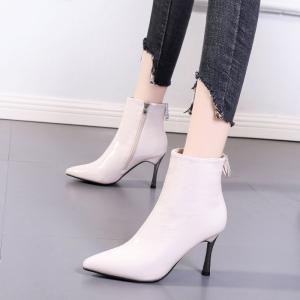 X-24535# 马丁靴女ins潮新款秋冬时尚漆皮高跟瘦瘦靴水钻尖头细跟短靴女鞋批发鞋子批发