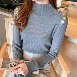 YF12586# ~秋新款韩版气质休闲高领套头打底毛衣针织衫女长袖 服装批发女装直播货源
