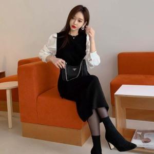 YF16217# 茶歇法式小黑裙拼接修身针织连衣裙女秋冬ins风长裙收腰显瘦炸街