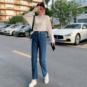 YF12527# 新款韩版直筒高腰显瘦牛仔裤女 服装批发女装直播货源