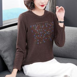 YF12253# 秋冬款圆领烫钻打底衫中年女装修身大码T恤内搭上衣服装批发女装直播货源