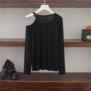 YF14591# 秋季新款法式露肩长袖宽松显瘦小心机设计感上衣 服装批发女装直播货源