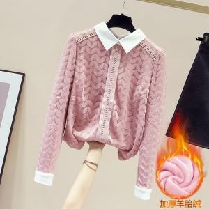 YF12593# 加绒加厚打底衫女小衫秋冬新款韩版修身长袖蕾丝衫上衣 服装批发女装直播货源