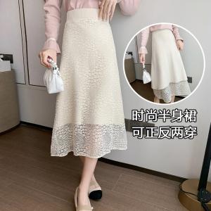 YF17118# 秋冬蕾丝半身裙中长款女松紧腰显瘦气质高腰大摆伞裙