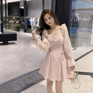 YF22229# 早秋新款法式收腰显瘦超仙小个子连衣裙性感女人味粉色气质A字裙