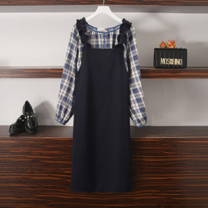 YF14597# 秋季新款微胖mm洋气格子衬衫+开叉吊带裙两件套 服装批发女装直播货源