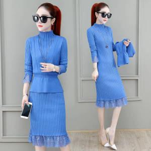 YF26767# 针织马甲连衣裙两件套新款蕾丝修身连衣裙小个子女生毛衣套装