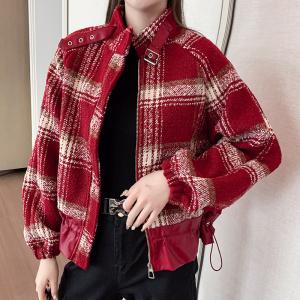 YF20343# 毛呢外套女女装秋冬新款时尚休闲格子上衣宽松外套显瘦 服装批发女装直播货源