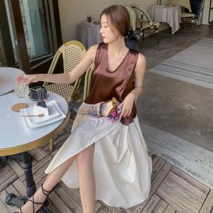 YF14454# 法式复古撞色V领连衣裙新款夏气质女神范性感假两件套裙 服装批发女装直播货源