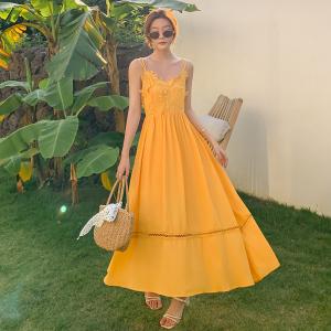 YF14451# 花边吊带连衣裙显瘦长裙新款海边度假三亚沙滩裙夏 服装批发女装直播货源
