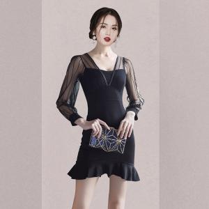 YF29998# 新款女新款韩版荷叶边鱼尾裙网纱拼接显瘦长袖中长裙 女装批发服装货源