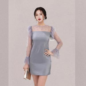 YF29998# 新款韩版春夏网纱拼接圆领钉珠喇叭袖短款连衣裙女 女装批发服装货源