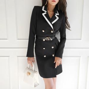 YF18739# 秋季新款韩版OL气质修身双排扣时尚长款西装外套女 服装批发服饰直播货源