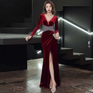 YF18516# 红色晚礼服女新款年会气场女王高端宴会气质性感长款丝绒长袖 服装批发女装直播货源