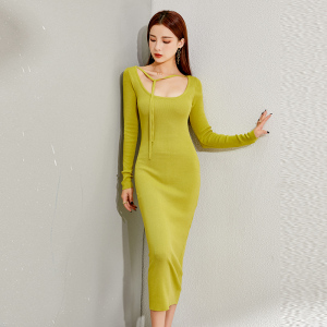 YF15970# 显白优雅复古性感小心机紧身包臀针织长袖连衣裙长裙 服装批发女装直播货源