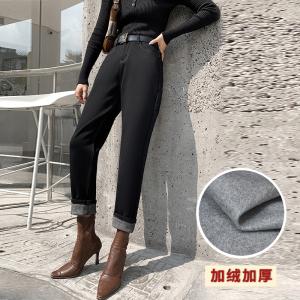 YF198110# 新款冬季加绒牛仔裤女高腰小脚加厚显瘦哈伦裤 服装批发服饰货源