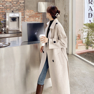 YF17550# 毛呢大衣女中长款新款冬季加厚过膝小个子赫本风收腰呢子外套 服装批发女装直播货源