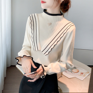 YF17120# 半高领毛衣新款修身淑女显瘦上衣木耳边打底针织衫