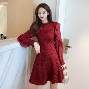 YF16182# 模特秋冬新款雪纺拼接修身连衣裙 服装批发女装直播货源