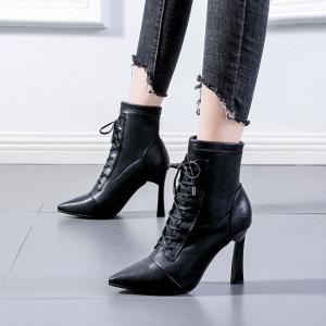 X-24730# 秋冬季高跟鞋新款尖头系带短靴女网红瘦瘦靴细跟弹力女靴子 鞋子批发女鞋货源