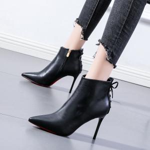 X-24732# 法式少女蝴蝶结短靴网红尖头米白色马丁靴女20冬季新款细跟高跟鞋 鞋子批发女鞋货源