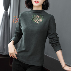 YF16656# 秋长袖半高领t桖女士时尚洋气上衣打底小衫 服装批发女装直播货源