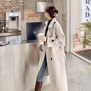 YF20364# 毛呢大衣女中长款新款韩版冬季加厚小个子气质收腰呢子外套 服装批发女装直播货源