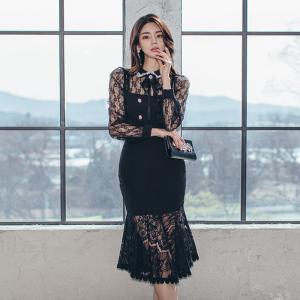 YF18963# 两件套新款名媛气质蕾丝拼接裙套装 服装批发女装直播货源