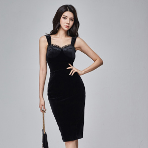 YF18964# 新款名媛性感修身吊带丝绒套装 服装批发女装直播货源
