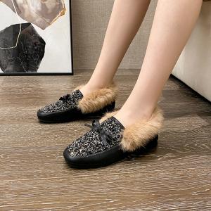 X-24768# 新款韩版东大门鞋软底真兔毛压钻毛毛鞋款号大码35-41码 鞋子批发女鞋货源