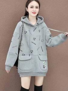 YF28080# 带帽加绒加厚款中长款卫衣女外套秋冬季新款宽松洋气时尚百搭