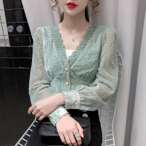 YF20773# 冬季新款法式V领打底衫女上衣 女装批发服饰直播货源