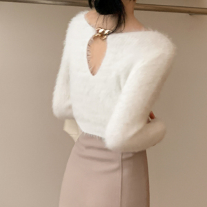YF18726# 韩国女装冬季Cro毛绒绒金属项链装饰针织衫貂绒毛衣 服装批发服饰直播货源
