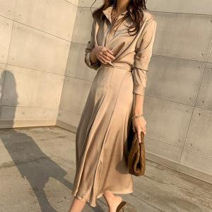 YF30002# 时尚气质衬衫连衣裙春秋季新款收腰女人味长袖中长裙子 女装批发服装货源
