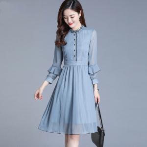 YF19229# 蓝色雪纺连衣裙秋装新款女长袖中长款修身洋气时尚裙 服装批发女装直播货源