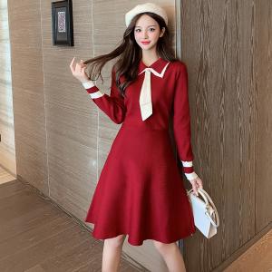 YF26764# 新款气质优雅时尚显瘦针织连衣裙百搭个性打底中长裙